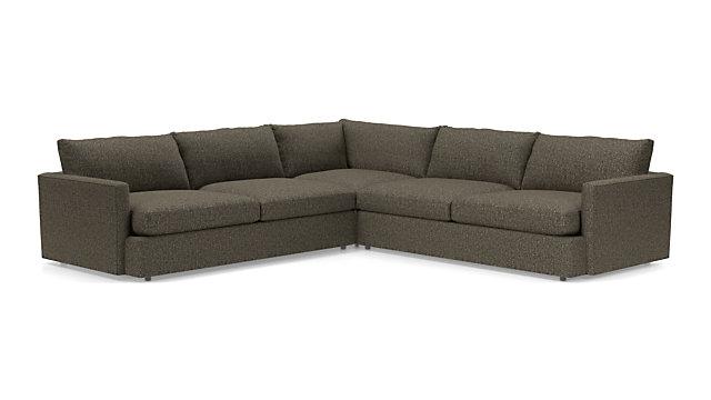 Lounge II 3-Piece Sectional Sofa (Left Arm Sofa, Corner, Right Arm Sofa) shown in Taft, Truffle