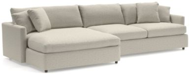 Lounge II 2-Piece Left Arm Double Chaise Sectional Sofa (Left Arm Double Chaise, Right Arm Sofa) shown in Taft, Cement