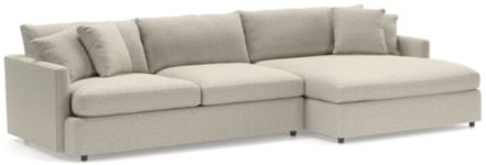 Lounge II 2-Piece Right Arm Double Chaise Sectional Sofa (Left Arm Sofa, Right Arm Double Chaise) shown in Taft, Cement