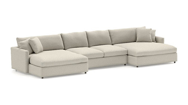 Lounge II 3-Piece Double Chaise Sectional Sofa (Left Arm Double Chaise, Armless Loveseat, Right Arm Double Chaise) shown in Taft, Cement