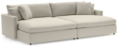 Lounge II 2-Piece Double Chaise Sectional Sofa (Left Arm Double Chaise, Right Arm Double Chaise) shown in Taft, Cement