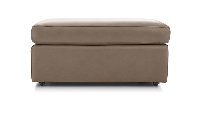"""Lounge II Leather 37"""" Ottoman with Casters shown in Lavista, Smoke"""