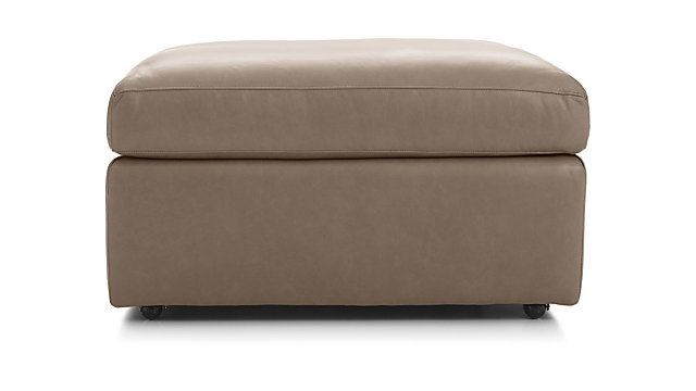 "Lounge II Leather 32"" Ottoman with Casters shown in Lavista, Smoke"