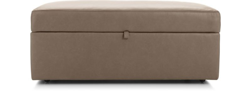 Lounge Ii Leather Storage Ottoman With Tray In Ottomans