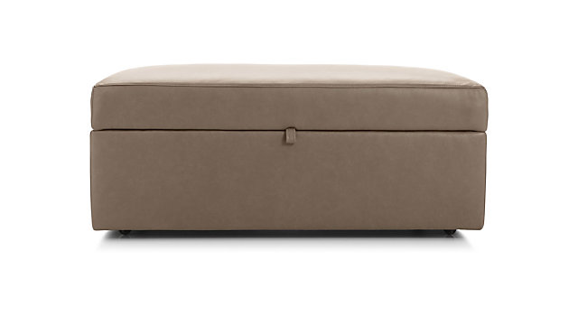 Lounge II Leather Storage Ottoman with Tray shown in Lavista, Smoke