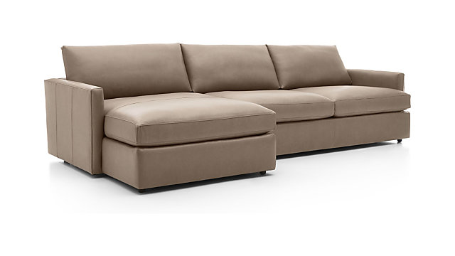 Lounge II Leather 2-Piece Left Arm Chaise Sectional Sofa