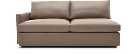 Lounge II Leather Left Arm Sofa shown in Lavista, Smoke