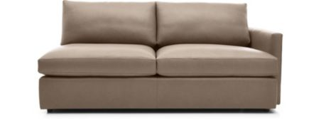 Lounge II Leather Right Arm Sofa shown in Lavista, Smoke