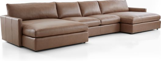 Lounge II Leather 3-Piece Double Chaise Sectional Sofa (Left Arm Double Chaise, Armless Loveseat, Right Arm Double Chaise) shown in Lavista, Smoke