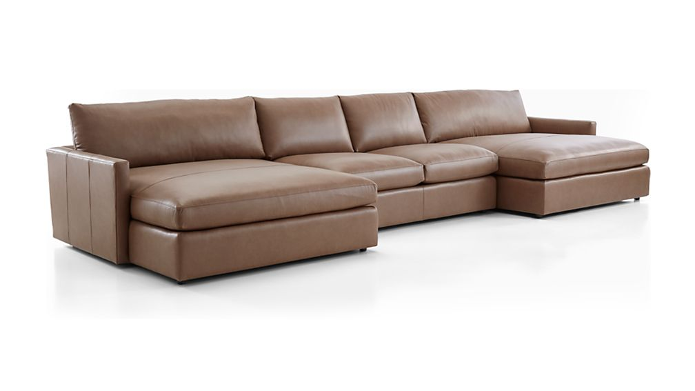 Lounge II Leather 3-Piece Double Chaise Sectional Sofa ...