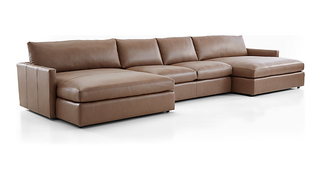 Lounge Ii Leather 3 Piece Double Chaise Sectional Sofa
