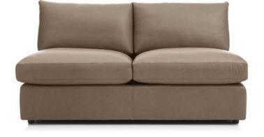 Lounge II Petite Leather Armless Loveseat shown in Lavista, Smoke