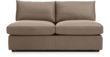 Lounge II Petite Leather Armless Loveseat shown in Lavista, Smoke