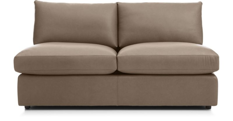 lounge ii petite leather armless loveseat