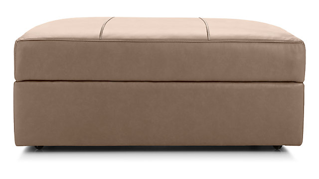 Lounge II Petite Leather Storage Ottoman with Casters shown in Lavista, Smoke