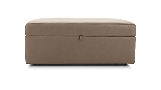 Lounge II Petite Leather Storage Ottoman with Tray shown in Lavista, Smoke