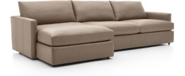Lounge II Petite Leather 2-Piece Left Arm Chaise Sectional Sofa(Left Arm Chaise, Right Arm Sofa) shown in Lavista, Smoke