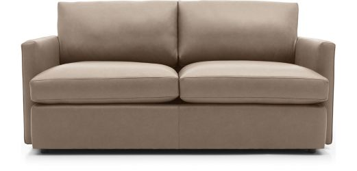 Lounge II Petite Leather Apartment Sofa shown in Lavista, Smoke