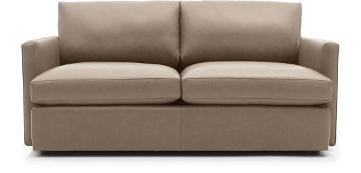 Lounge II Petite Leather Apartment Sofa shown in Lavista, Smoke