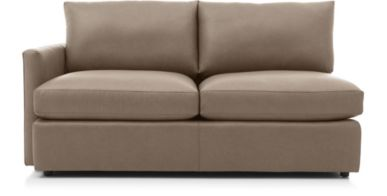 Lounge II Petite Leather Left Arm Apartment Sofa shown in Lavista, Smoke