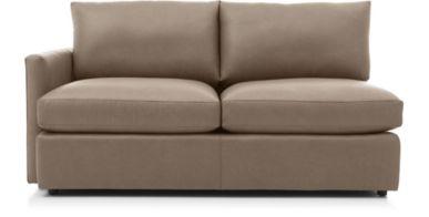 Lounge II Petite Leather Left Arm Apartment Sofa shown in Lavista, Smoke