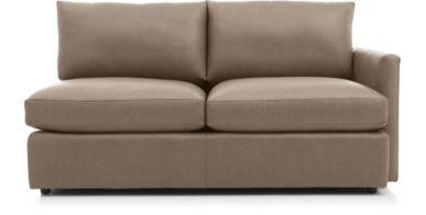 Lounge II Petite Leather Right Arm Apartment Sofa shown in Lavista, Smoke