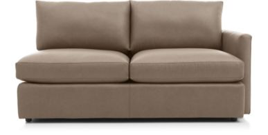 Lounge II Petite Leather Right Arm Apartment Sofa shown in Lavista, Smoke
