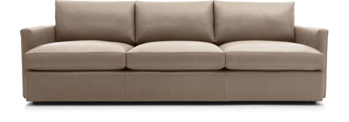 "Lounge II Petite Leather 3-Seat 105"" Grande Sofa shown in Lavista, Smoke"