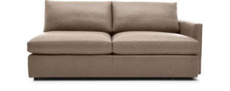 Lounge II Petite Leather Right Arm Sofa shown in Lavista, Smoke