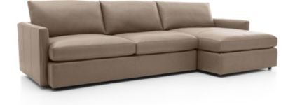 Lounge II Petite Leather 2-Piece Right Arm Chaise Sectional Sofa(Left Arm Sofa, Right Arm Chaise) shown in Lavista, Smoke