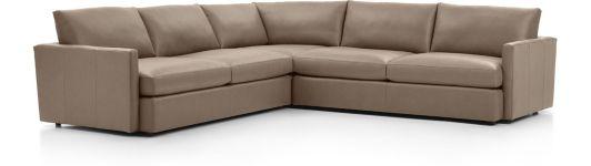 Lounge II Petite Leather 3-Piece Sectional Sofa (Left Arm Sofa, Corner, Right Arm Sofa) shown in Lavista, Smoke