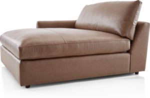 Lounge II Petite Leather Left Arm Double Chaise shown in Lavista, Smoke