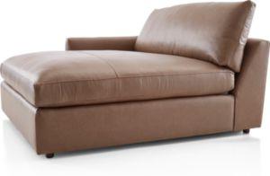Lounge II Petite Leather Left Arm Double Chaise shown in Lavista, Smoke