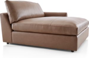 Lounge II Petite Leather Right Arm Double Chaise shown in Lavista, Smoke