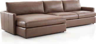 Lounge II Petite Leather 2-Piece Left Arm Double Chaise Sectional Sofa(Left Arm Double Chaise, Right Arm Sofa) shown in Lavista, Smoke
