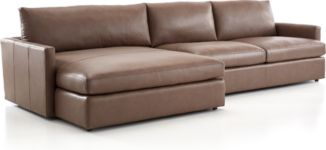 Lounge II Petite Leather 2-Piece Left Arm Double Chaise Sectional Sofa(Left Arm Double Chaise, Right Arm Sofa) shown in Lavista, Smoke