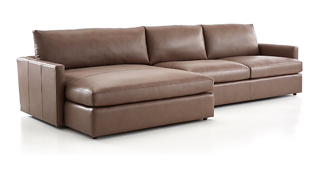Lounge II Petite Leather 2-Piece Left Arm Double Chaise Sectional ...