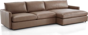 Lounge II Petite Leather 2-Piece Right Arm Double Chaise Sectional Sofa (Left Arm Sofa, Right Arm Double Chaise) shown in Lavista, Smoke
