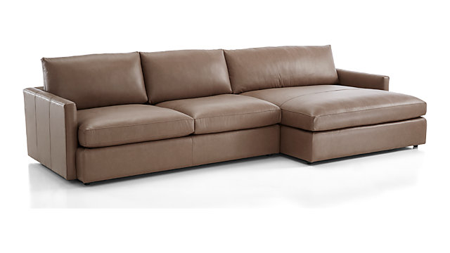 Lounge II Petite Leather 2-Piece Right Arm Double Chaise Sectional Sofa |  Crate and Barrel