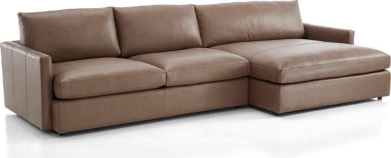 Lounge II Petite Leather 2 Piece Right Arm Double Chaise Sectional Sofa