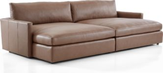 Lounge II Petite Leather 2-Piece Double Chaise Sectional Sofa(Left Arm Double Chaise, Right Arm Double Chaise) shown in Lavista, Smoke
