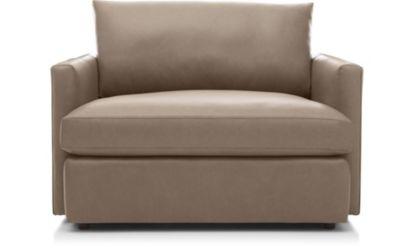 Lounge II Petite Leather Chair and a Half shown in Lavista, Smoke