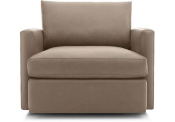 Lounge II Petite Leather Swivel Chair shown in Lavista, Smoke