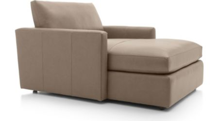 Lounge II Petite Leather Chaise Lounge shown in Lavista, Smoke