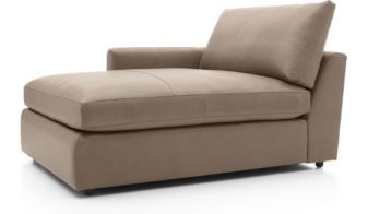 Lounge II Petite Leather Left Arm Chaise Lounge shown in Lavista, Smoke