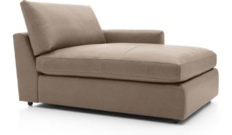 Lounge II Petite Leather Right Arm Chaise Lounge shown in Lavista, Smoke