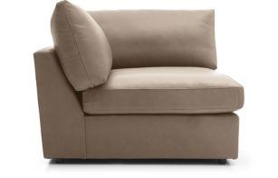 Lounge II Petite Leather Corner Chair shown in Lavista, Smoke
