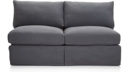 Lounge II Slipcovered Armless Loveseat shown in Denim, Twilight