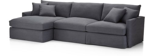 Lounge II Slipcovered 2-Piece Sectional Sofa (Left Arm Chaise, Right Arm Sofa) shown in Denim, Twilight