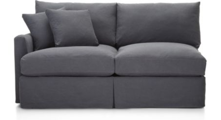 Lounge II Slipcovered Left Arm Apartment Sofa shown in Denim, Twilight